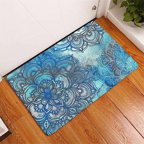 3D Bohemia Morocco Flower Pattern Rectangle Door Mat Non-slip Machine Washable , Flannel Area Rug Carpet for Indoor, Outdoor, Living Room, Hallway, Courtyard (Blue 1, 40 x 60 cm)