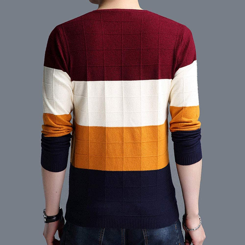 SEAWEED Men's Color Block V Neck Soft Casual Slim Fit Knitwear Sweater