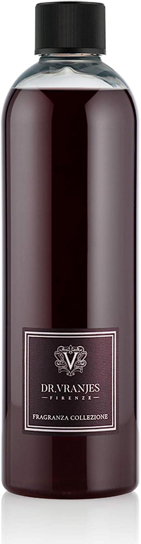 Dr. Vranjes - Recarga de Rosso Nobile 500 ml con Varillas Negras – Recarga difusor, Fragancia de habitación de lujo, Made in Italy, Aroma principal: Afrutada