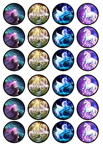 24 Unicorns Edible PREMIUM THICKNESS SWEETENED VANILLA, Wafer Rice Paper Cupcake Toppers/Decorations