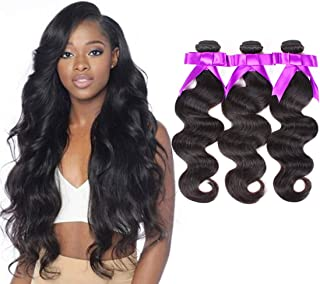 3 Bundles Deal Brazilian Human Hair Body Wave Hair Bundles 16 18 20 inch Cheap Brazilian Wavy Hair Weave 100% Human Hair Extensions 8A Grade Natural Black