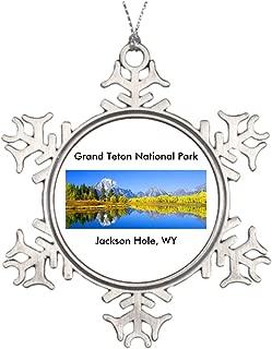 Personalised Christmas Tree Decoration Grand Teton National Park Series 1 Retro Christmas Snowflake Ornaments Jackson Hole