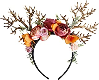 Kauneus Christmas Headwear Antlers Headband with Flowers Fairy Hair Accessories Holiday Party Dress Costumes Beautiful Gifts