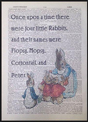 Parksmoonprints - Libro di dizionario vintage con citazione di Beatrix Potter, Peter Rabbit