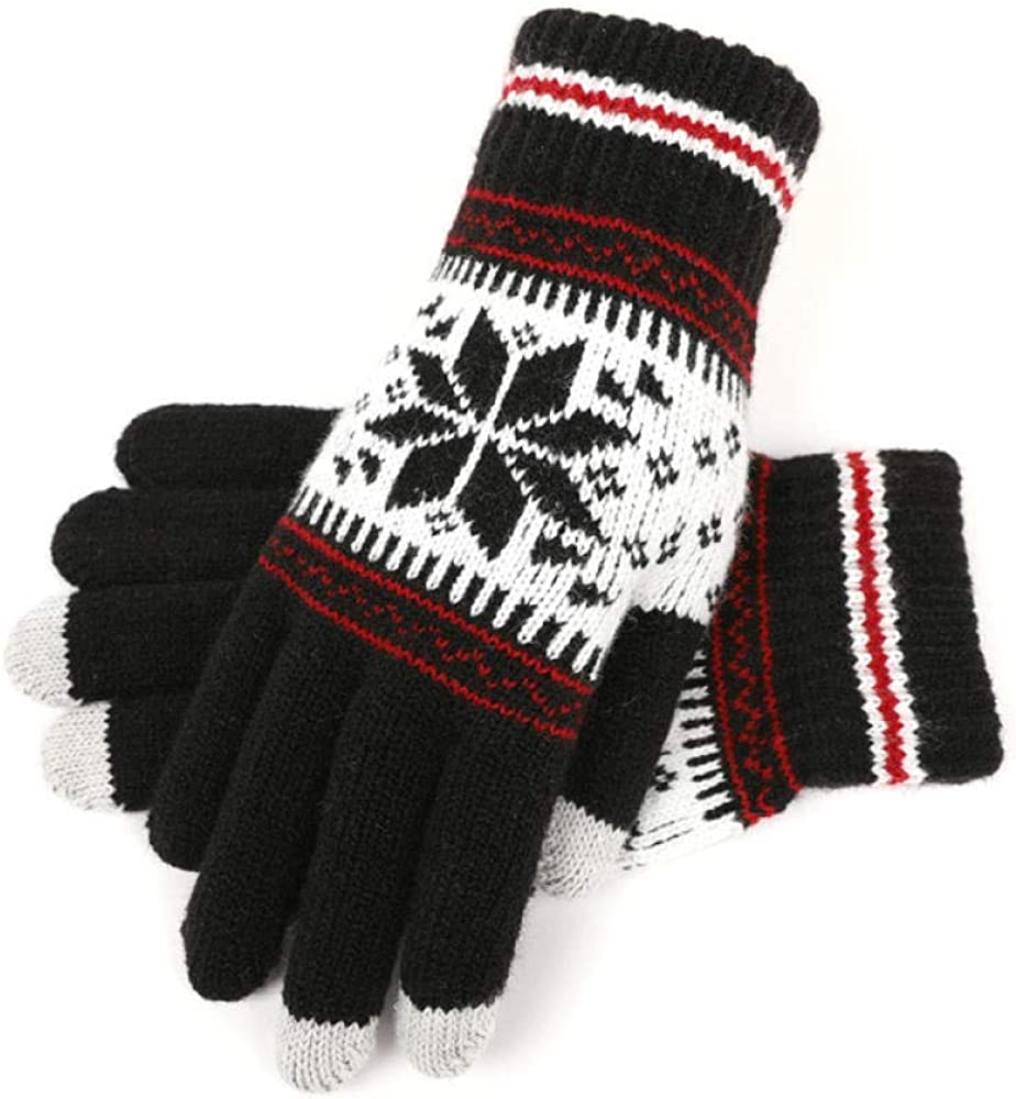 Women's Cold Weather Gloves Knitting touch screen small elk wool plus velvet outdoor riding