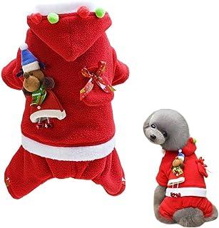 Alroman Dogs Christmas Costumes Santa Claus Clothes Pet Santa Claus Suit Pet Red Clothing Doggie Winter Apparel Cold Weath...