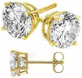 Gold Solid on Exquisite Solid Silver Stud Earrings.Round Cubic Zirconia Cubic Zirconia Quality Stones