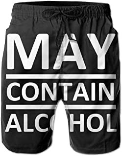 May Contain Alcohol Men's Swim Trunks Beach Shorts Board Shorts with Pockets