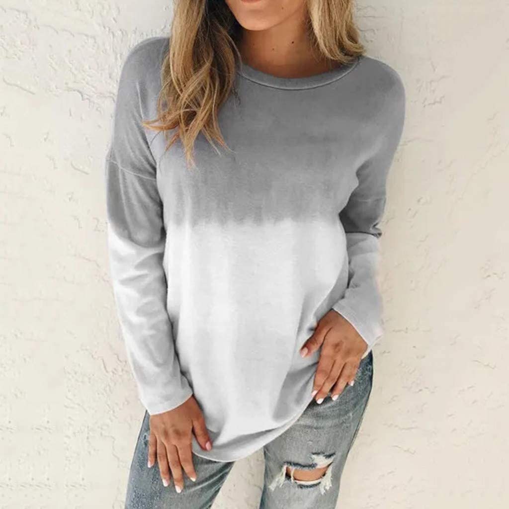 Sweatshirts for Womens Cute Color Block Gradient Loose Comfortable Long Sleeve Casual Pullover Tops Shirts Sweaters