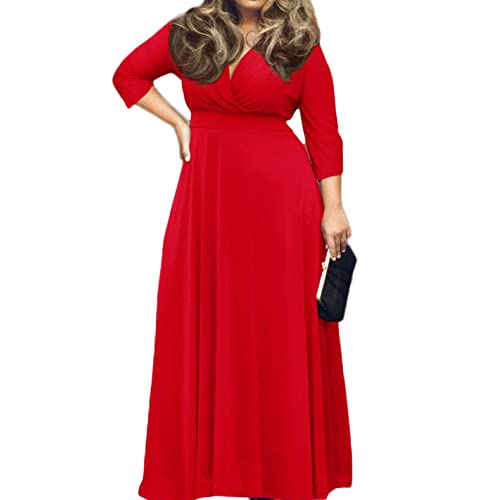 2937d16bd6f POSESHE Women s Solid V-Neck 3 4 Sleeve Plus Size Evening Party Maxi Dress