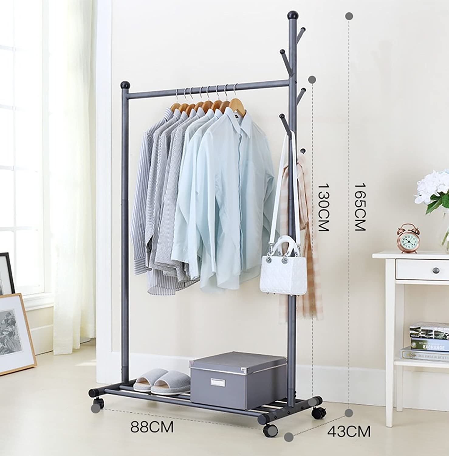 Metal Coat Rack with Hanging Hooks Coat Stand Hats Bags Multi-Purpose Storage shoes Bench Stand with Top Rod for Home Office Hallway Bedroom 88  43  165CM