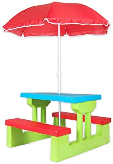 Kids Picnic Table Multi-Colour Outdoor Set with Umbrella for Children