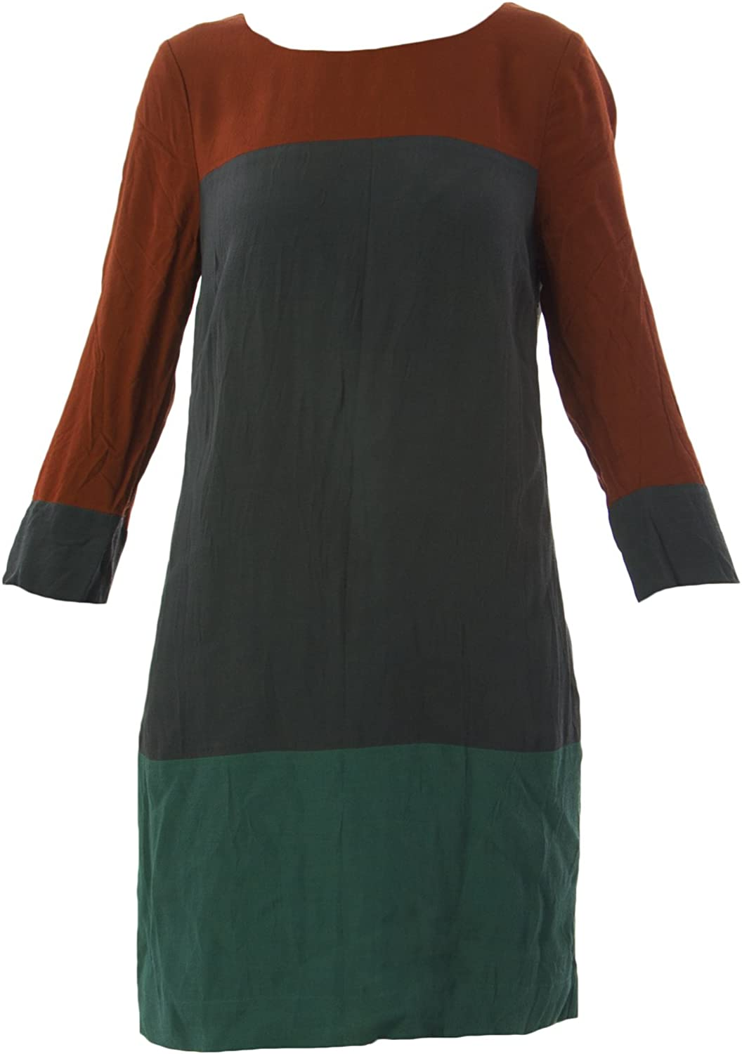 BODEN Women's Colourblock Tunic Dress US Sz 2R Rust Grey Teal