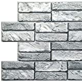 Dundee Deco PG7003 Grey Faux Old Brick, 3.1 ft x 1.6 ft, PVC 3D Wall Panel, Interior Design Wall Paneling Decor, 4.9 sq. ft.