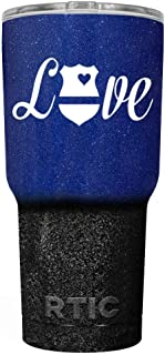 Police Love Glitter on Blue Black Ombre 30 oz Stainless Steel Tumbler