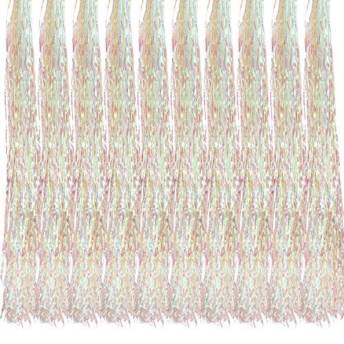 Oblique Unique® 10x Lametta Glänzend 100cm für Weihnachtsbaum Baumschmuck Weihnachtsdeko Weihnachten Party Feier Deko Silber Gold Weiß Schwarz Pink Lila Blau Grün - Farbe Wählbar (Weiss)