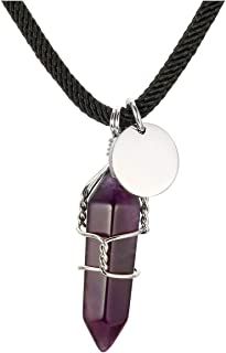 PESOENTH Natural Amethyst Crystal Gemstone Hexagonal Pointed Reiki Chakra Pendant Leather Necklace Choker for Women Girls