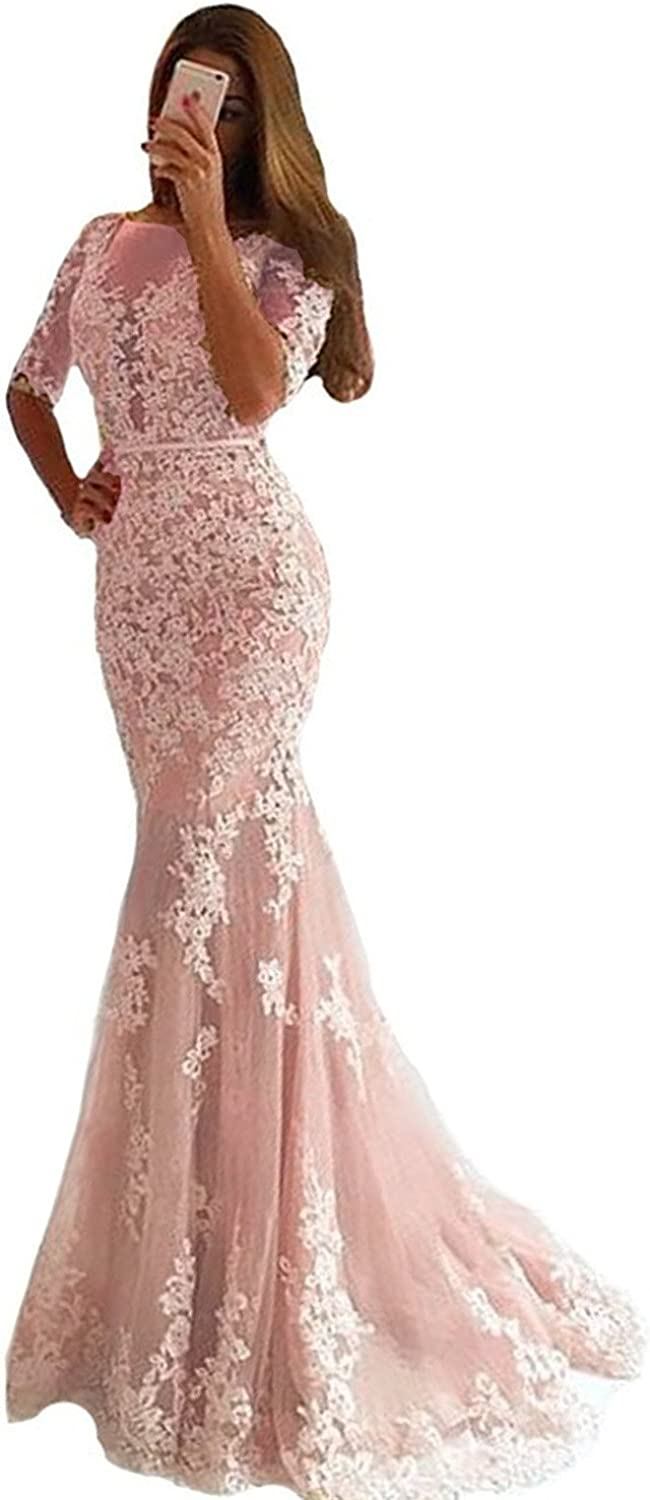 Lemai Women Mermaid Long Lace Half Sleeves Formal Prom Dresses Evening Gowns