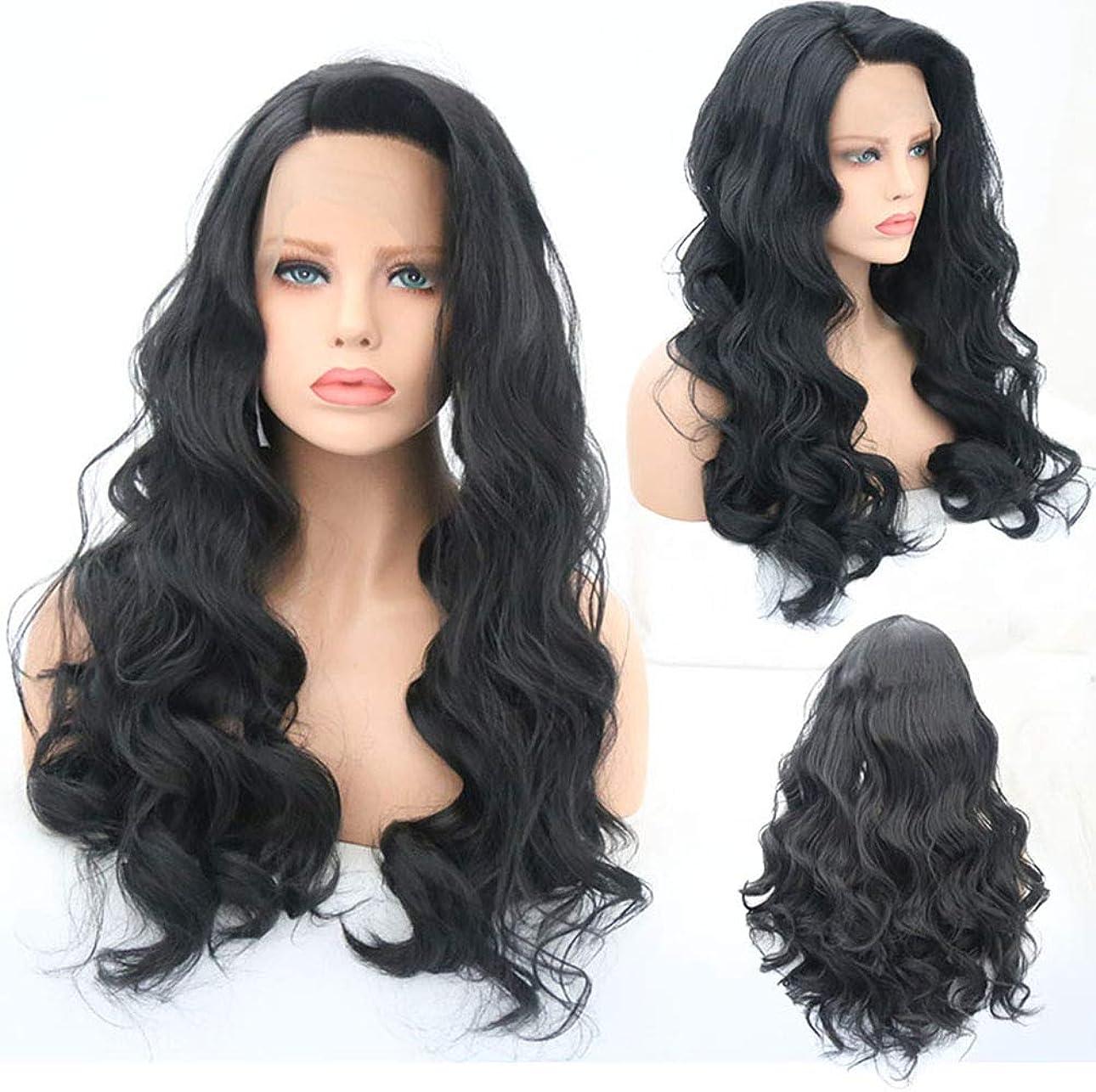 モッキンバードフェローシップ防衛女性フロントレースロングカーリー変態波状かつら合成耐熱繊維毛髪かつら