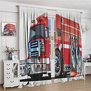 zojihouse Cars Big Fire Truck with Emergency Equipments Universal Safety Rescue Team Engine Cartoon Modern Kids Curtain Red Silver Artwork Digital Print Drapes W72XL84