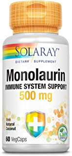 Solaray Monolaurin 500 mg Immune System Support | from Coconuts | Helps Maintain Healthy Gut Flora | 60CT