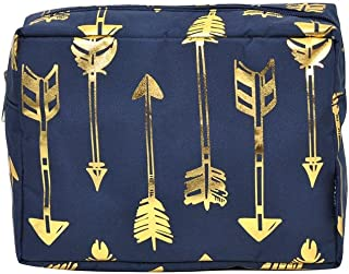 N. Gil Large Travel Cosmetic Pouch Bag 3 (2017 Fall New Pattern) (Gold Arrow Navy)