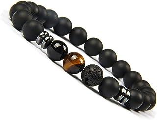 UEUC Chakra Balance Yoga Bracelet en Pierre d'onyx Naturel Bracelet diffuseur pour Les Hommes et Les Femmes