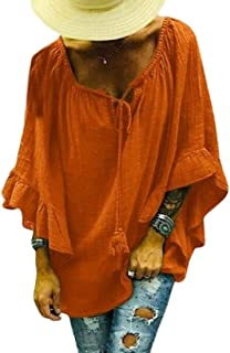 Suncolor8 Women's Casual V Neck Solid Color Linen 1/2 Sleeve Blouse Top Shirts