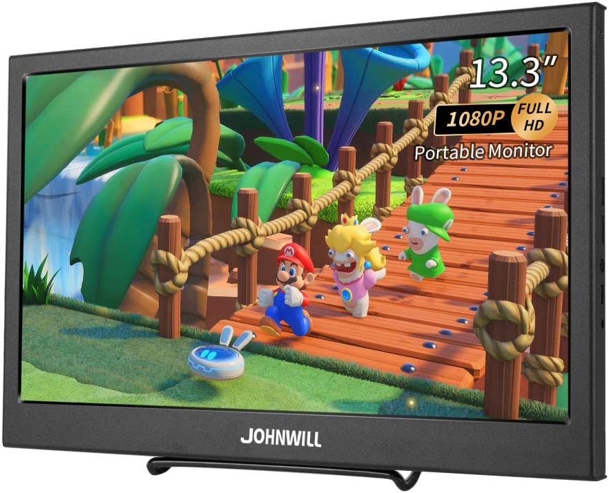 13.3 Inch Portable Monitor,JOHNWILL Full HD 1080P Portable Display IPS Screen Gaming Monitor with HDMI, Built-in Dual Speakers/USB-Powered Portable Monitor for Laptop, PS4, Xbox, Switch, Phone
