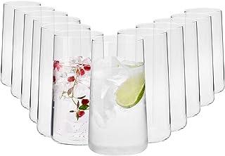 Krosno Grande Vasos de Agua Highball | Set 12 Piezas | 540 ML | Avant-Garde Collection Uso en Casa, Restaurante y en Fiestas | Apto para Microondas y Lavavajillas