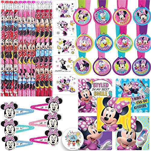The Ultimate Minnie Mouse Happy Helpers Goodie Bag Filler and Birthday Party Favor Pack For 12 Guests With Minnie Pencils, Medals, Stickers, Hair Clips, Tattoos, and Exclusive Pin