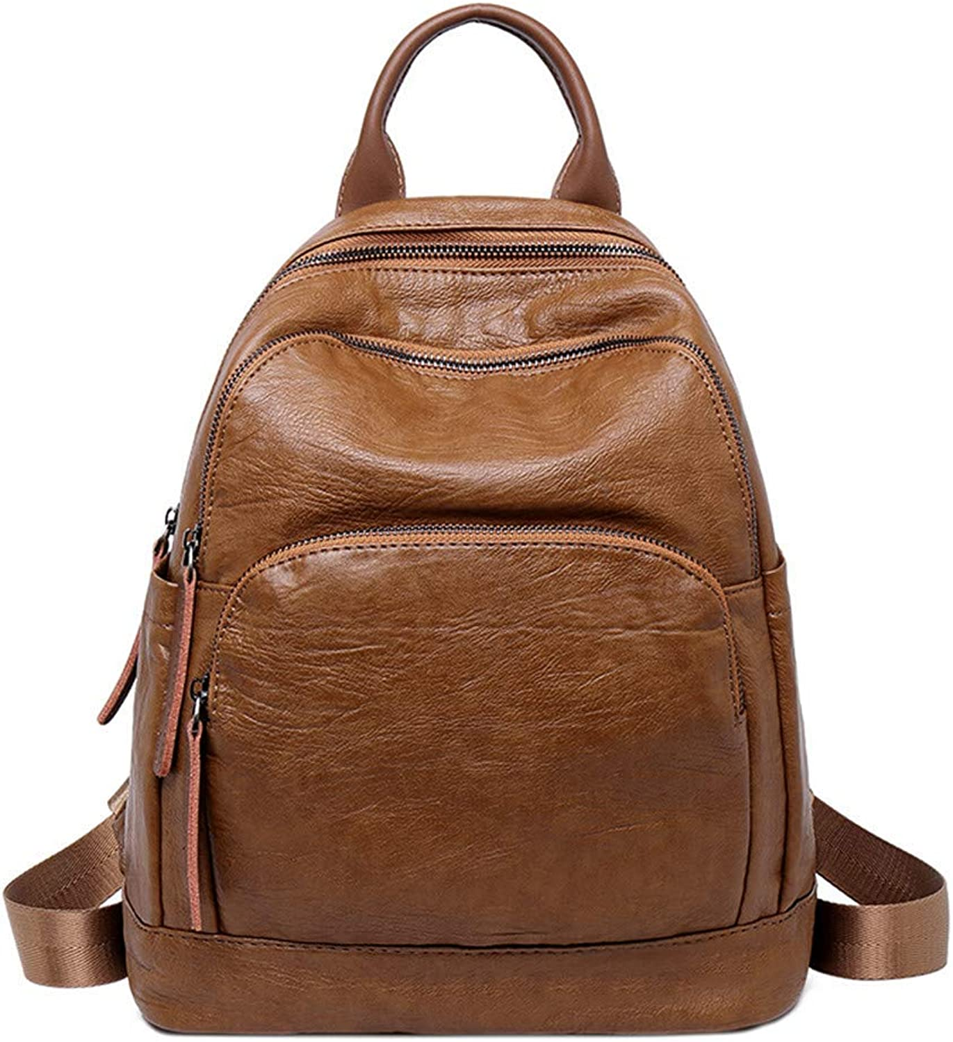 Climb Backpack Backpack Lady Retro Leather Fashion Wild Casual Bag College Wind Bag Travel Backpack 27×13×32CM (color   Brown) (color   Brown)