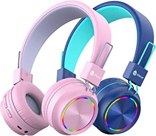 [2 Pack] iClever BTH03 Kids Wireless Headphones - Colorful Lights Headphones for Kids with MIC, Volume Control Online Scho...