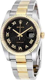 Rolex Oyster Perpetual Datejust 36 Black Jubilee Dial Stainless Steel and 18K Yellow Gold Rolex Oyster Automatic Mens Watch 116233BKJRO