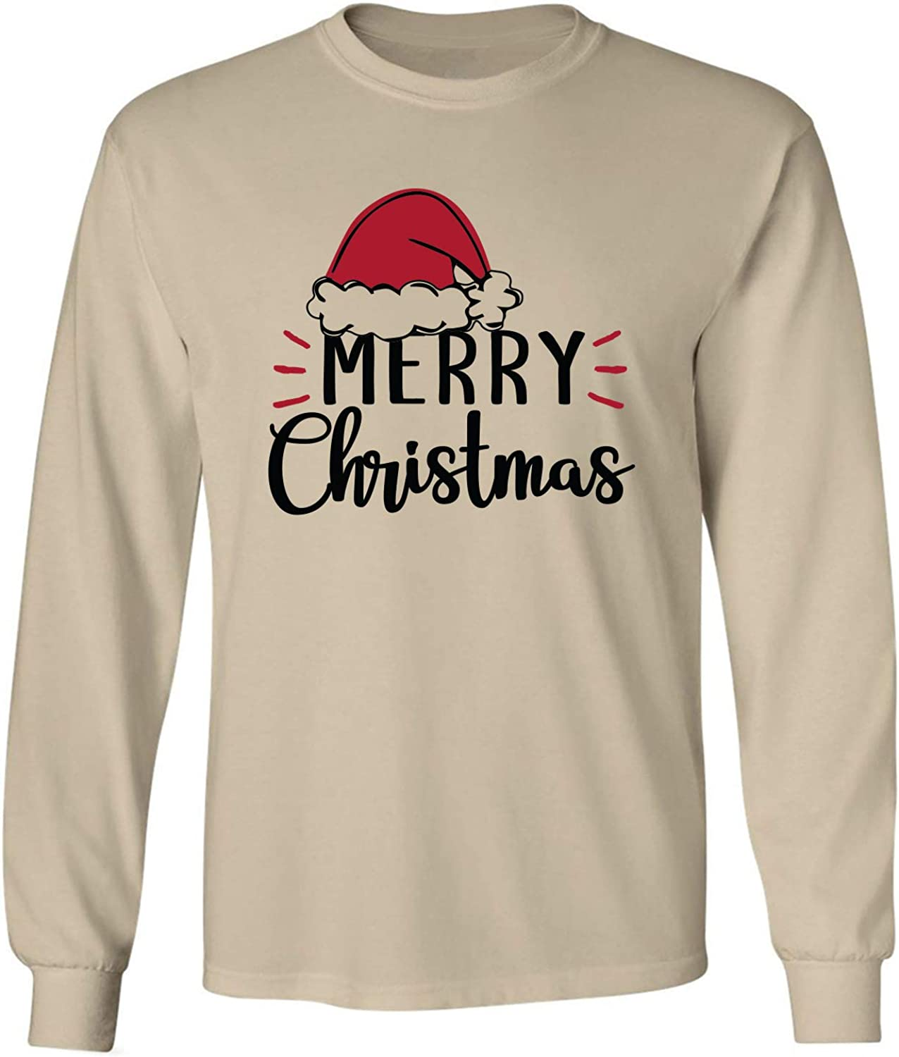 Merry Christmas Hat Adult Long Sleeve T-Shirt in Sand - XXXX-Large