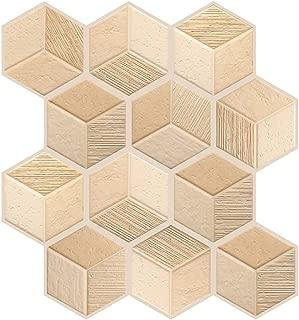 3D Cube Self Adhesive Wall Tiles, Waterproof Backsplash Peel and Stick for Kitchen/Bathroom/Living Room (6 Pcs)