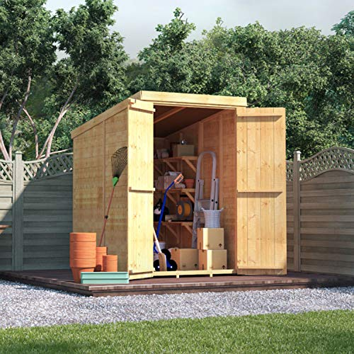 BillyOh Master Tongue & Groove Garden Shed with Floor   Windowless Wooden Shed with Pent Roof & Felt Included   Garden Storage Shed- 4 (4x6)