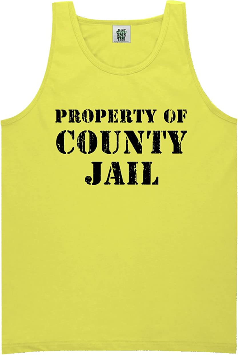 zerogravitee Property of County Jail Bright Neon Tank Top - 6 Bright Colors