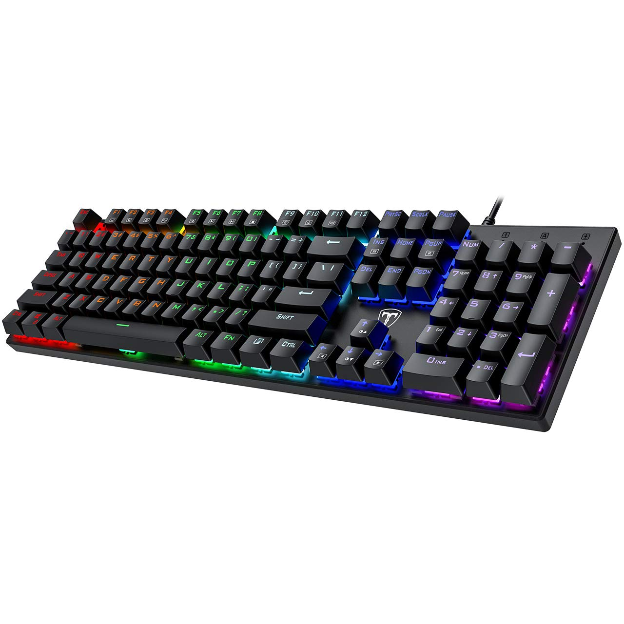PICTEK Full Size Mechanical Gaming Keyboard, Rainbow Backlit Ultra-Slim Wired USB Keyboard with Blue Switches Double-Shot Keycaps, Splash-Proof, Full-Key Rollover, Ideal for Windows Mac Gaming