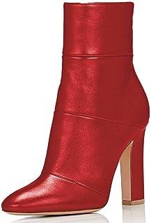 Women Pull On Diamond MidCalf Boot Fashion Pointed Toe Block Heel Shoe Big size