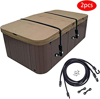 Adjustable Hot Tub Spa Cover Secure Straps, Tub Spa Cover Lock, The Easy-Install Solution for Securing Your Outdoor Hot Tub Secure.(Black, 2pack)