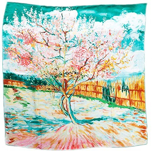 prettystern P586-90cm Gemälde Printing Deko Halstuch - Van Gogh - Peach in Blossom (türkis Grün)