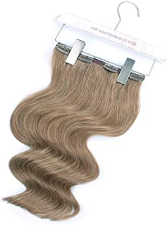 ABH AmazingBeauty Hair - AmazingBeauty Luxury Remy Human Hair Double Weft Clip Extensions, Full Head 140 Gram, 7 Pieces with 18 Clips, 8 Ash Brown, 20 Inch