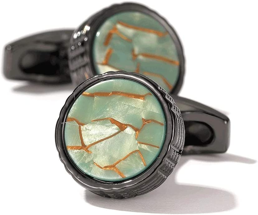 ZZABC Men's French Shirt Cufflinks Fashion New Green Marbled Round Cuff Links Gold Color Gifts (Color : A)