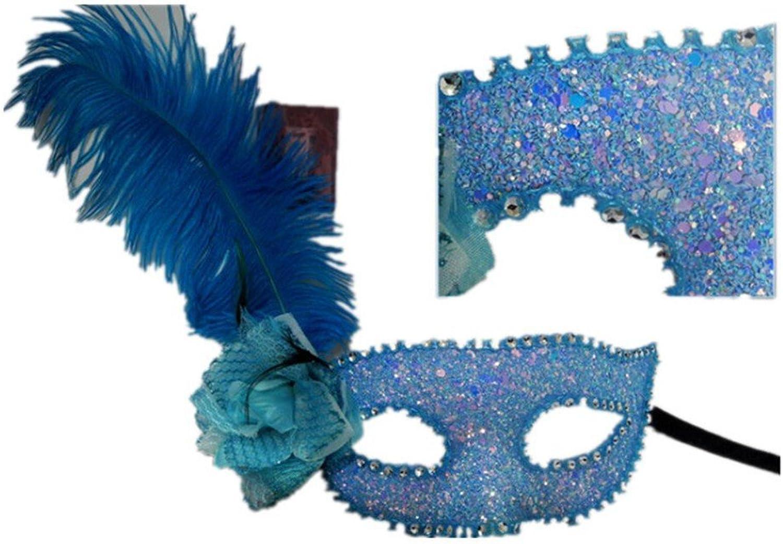 Face mask Shield Veil Guard Screen Domino False Front Halloween Princess Half face Cosplay Fun Dance mask bluee Ostrich