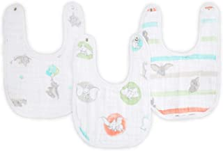 "aden by aden + Anais Disney Snap Bib, 100% Cotton Muslin, Soft Absorbent 3 Layers, Adjustable, 9"" X 13"", 3 Pack, Flying Dumbo"