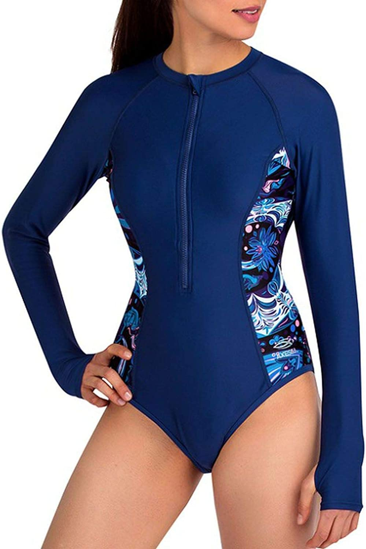ONLYFORME1 Long Sleeve Rash Guard Women Diving Surf Swimwear Upf50+ Front Zipper Uv Rashguard
