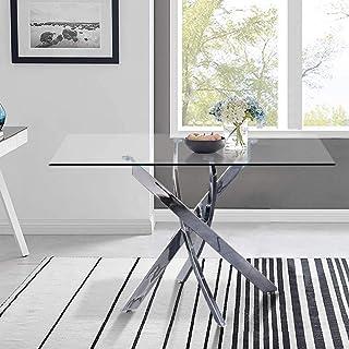 GOLDFAN Table de Salle à Manger en Verre Moderne Table à Manger Cuisine Rectangulaire Table avec Pieds Chromés pour Salon ...