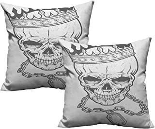 RuppertTextile Polyester Pillowcase King Sketchy Skull with Crown Hip Hop Street Style Necklace Chain Gem Image Print Cushion W18 xL18 2 pcs