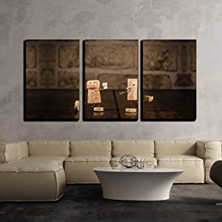 wall26 - 3 Piece Canvas Wall Art - Concept Marriage Proposal with Wine Cork Figures - Modern Home Decor Stretched and Framed Ready to Hang - 24
